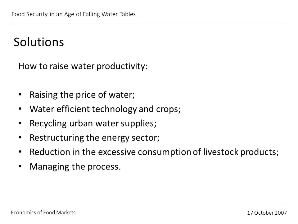 Economics of Food Markets 17 October 2007 Food Security in an Age of Falling Water Tables Solutions How to raise water productivity: Raising the price
