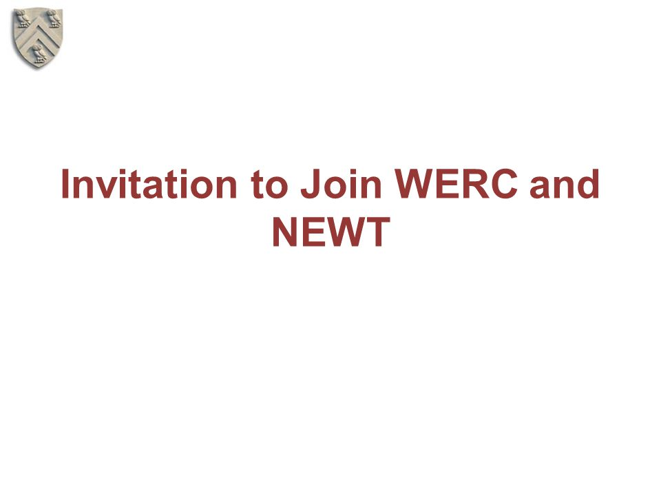 Invitation to Join WERC and NEWT