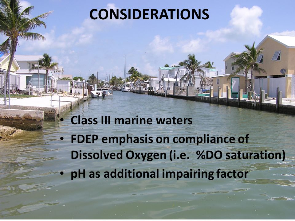 Class III marine waters FDEP emphasis on compliance of Dissolved Oxygen (i.e.