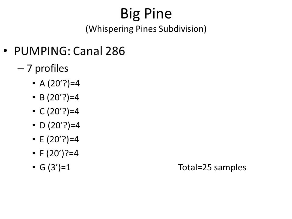 Big Pine (Whispering Pines Subdivision) PUMPING: Canal 286 – 7 profiles A (20 )=4 B (20 )=4 C (20 )=4 D (20 )=4 E (20 )=4 F (20) =4 G (3)=1Total=25 samples