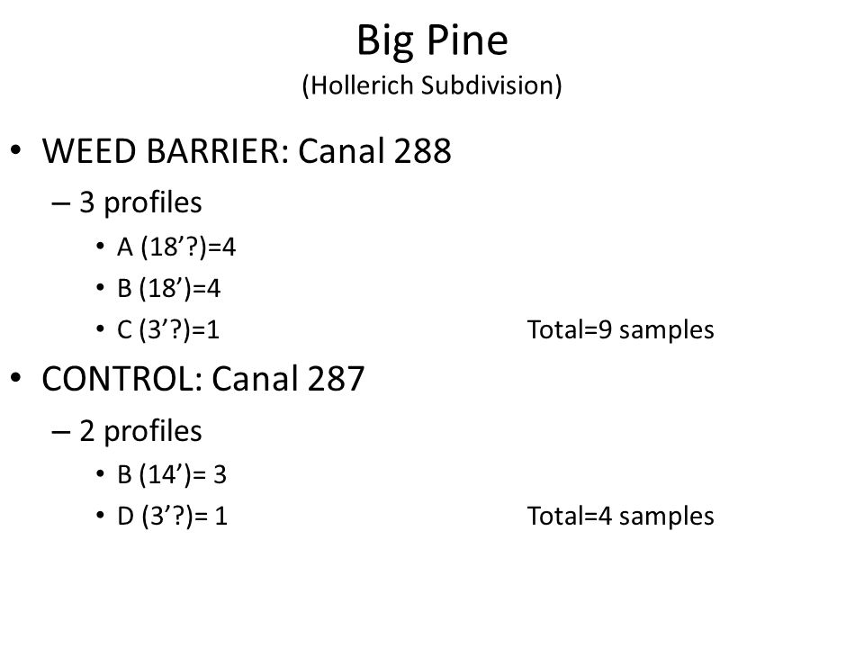 Big Pine (Hollerich Subdivision) WEED BARRIER: Canal 288 – 3 profiles A (18 )=4 B (18)=4 C (3 )=1Total=9 samples CONTROL: Canal 287 – 2 profiles B (14)= 3 D (3 )= 1Total=4 samples
