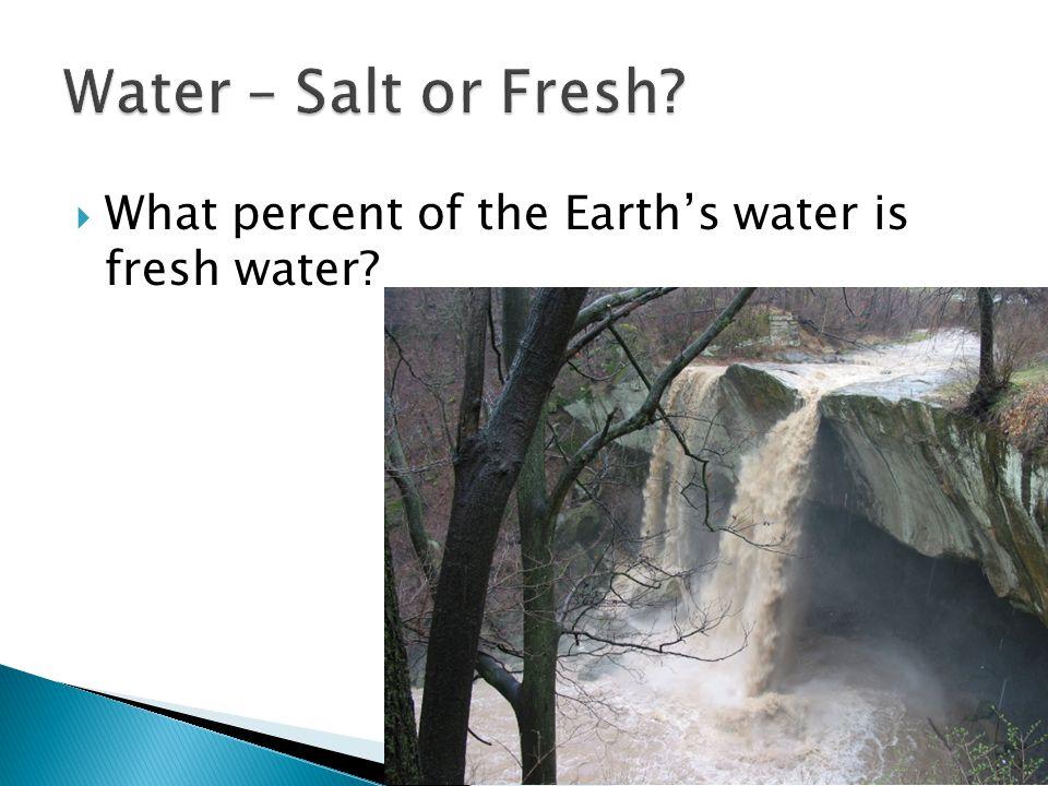 Fresh Water – 2.4% Salt water – 97.6%