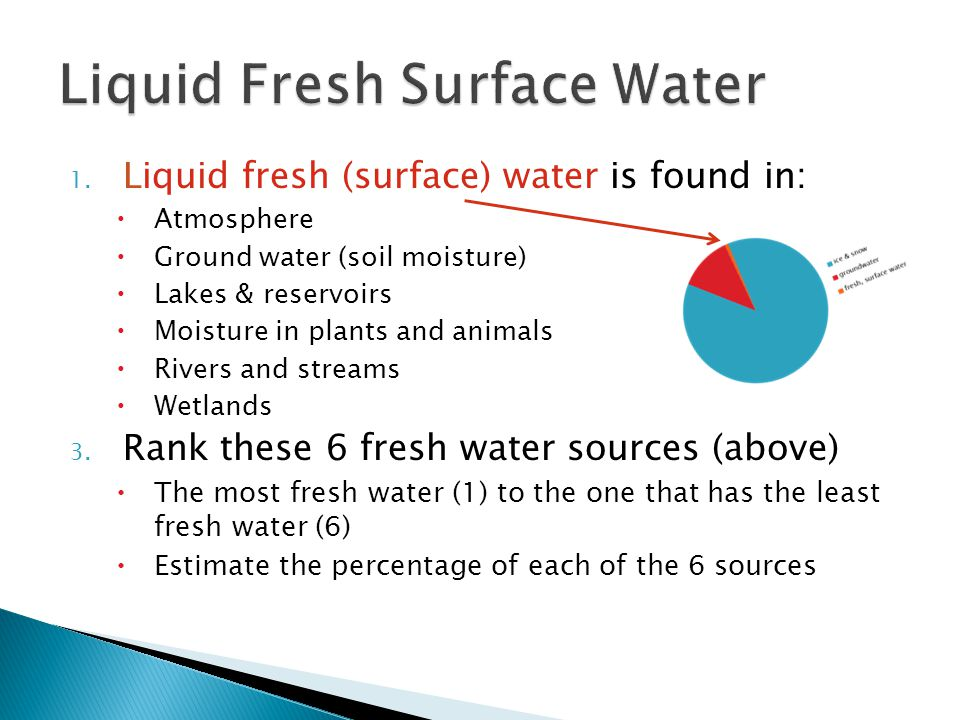1. Liquid fresh (surface) water is found in: Atmosphere Ground water (soil moisture) Lakes & reservoirs Moisture in plants and animals Rivers and stre