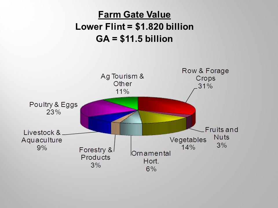 Farm Gate Value Lower Flint = $1.820 billion GA = $11.5 billion