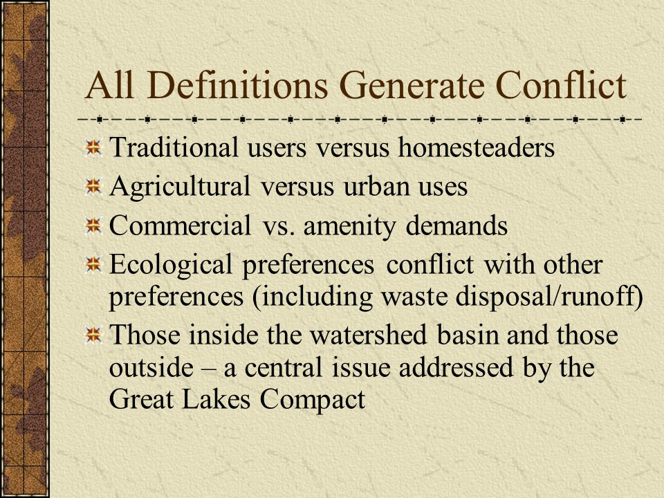All Definitions Generate Conflict Traditional users versus homesteaders Agricultural versus urban uses Commercial vs. amenity demands Ecological prefe