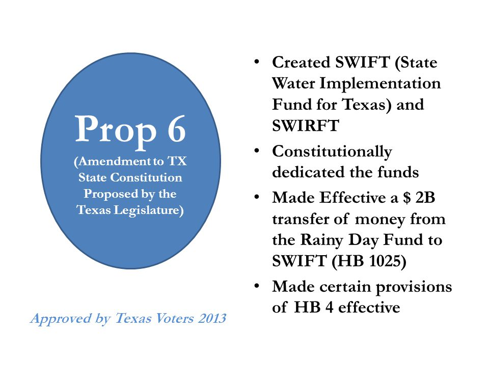 Approved by Texas Voters 2013 Created SWIFT (State Water Implementation Fund for Texas) and SWIRFT Constitutionally dedicated the funds Made Effective a $ 2B transfer of money from the Rainy Day Fund to SWIFT (HB 1025) Made certain provisions of HB 4 effective Prop 6 (Amendment to TX State Constitution Proposed by the Texas Legislature)