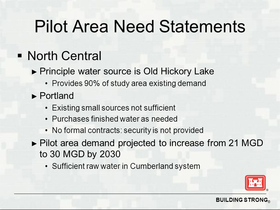 BUILDING STRONG ® Pilot Area Need Statements South Cumberland Plateau Raw water supply strained in 2007 Monteagle managed drought by purchasing from adjacent utilities and establishing temporary sources Utility interconnections well established Paramount to regions ability to manage drought Pilot area demand projected to increase from 2.1 MGD to 2.2 MGD by 2030 Composite yield of existing sources barely sufficient Indicate need for source development