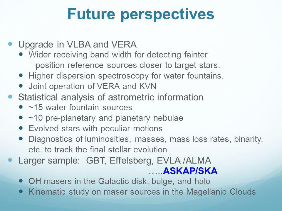 Future perspectives Upgrade in VLBA and VERA Wider receiving band width for detecting fainter position-reference sources closer to target stars.