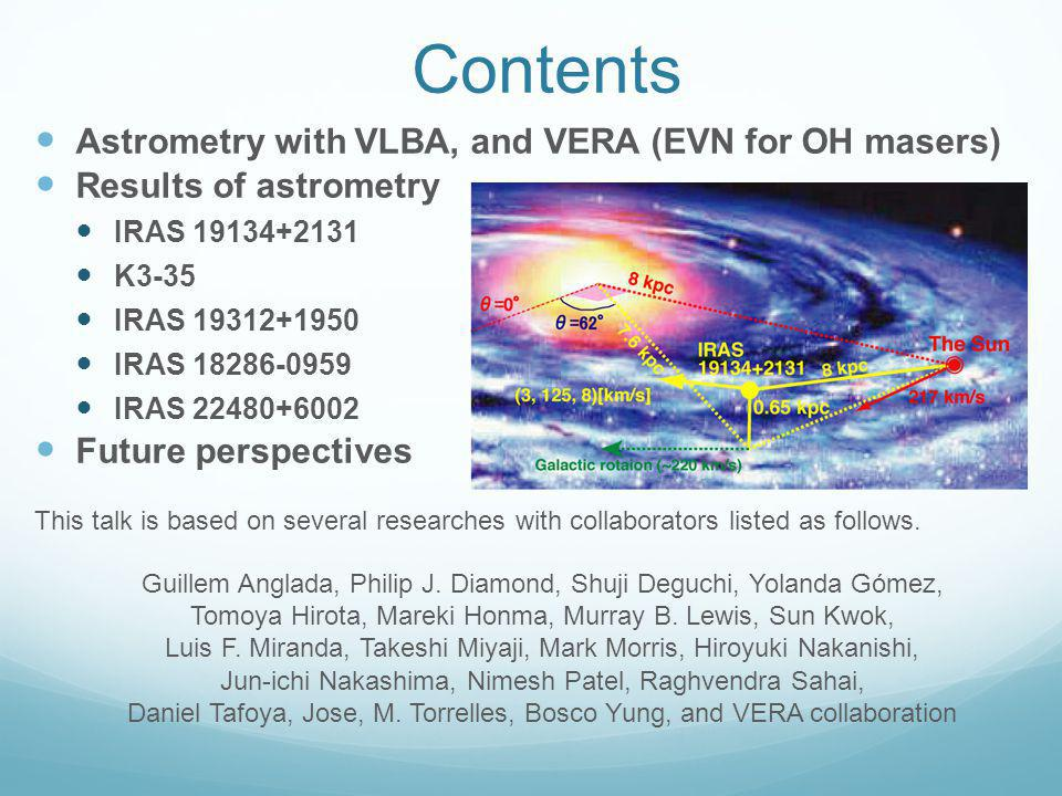 Contents Astrometry with VLBA, and VERA (EVN for OH masers) Results of astrometry IRAS 19134+2131 K3-35 IRAS 19312+1950 IRAS 18286-0959 IRAS 22480+6002 Future perspectives This talk is based on several researches with collaborators listed as follows.