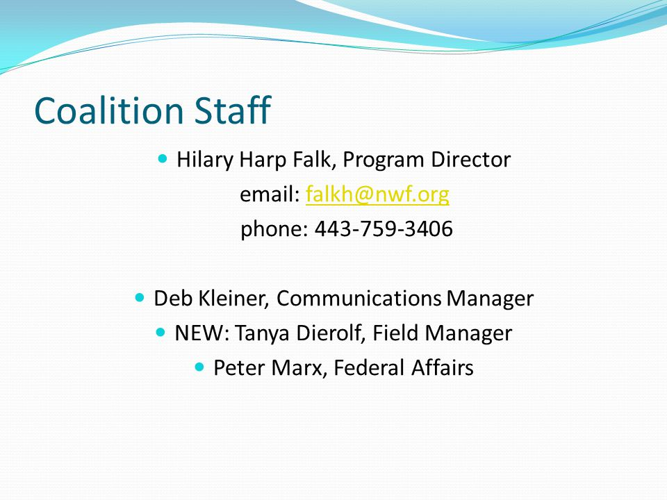 Coalition Staff Hilary Harp Falk, Program Director email: falkh@nwf.orgfalkh@nwf.org phone: 443-759-3406 Deb Kleiner, Communications Manager NEW: Tanya Dierolf, Field Manager Peter Marx, Federal Affairs