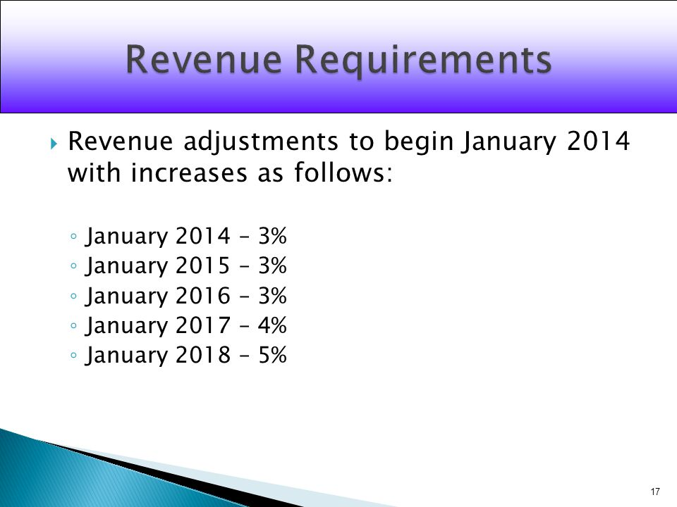 Revenue adjustments to begin January 2014 with increases as follows: January 2014 – 3% January 2015 – 3% January 2016 – 3% January 2017 – 4% January 2018 – 5% 17