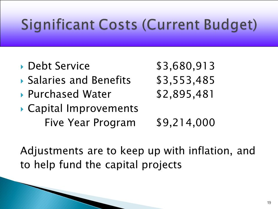 Debt Service$3,680,913 Salaries and Benefits$3,553,485 Purchased Water$2,895,481 Capital Improvements Five Year Program$9,214,000 Adjustments are to keep up with inflation, and to help fund the capital projects 19