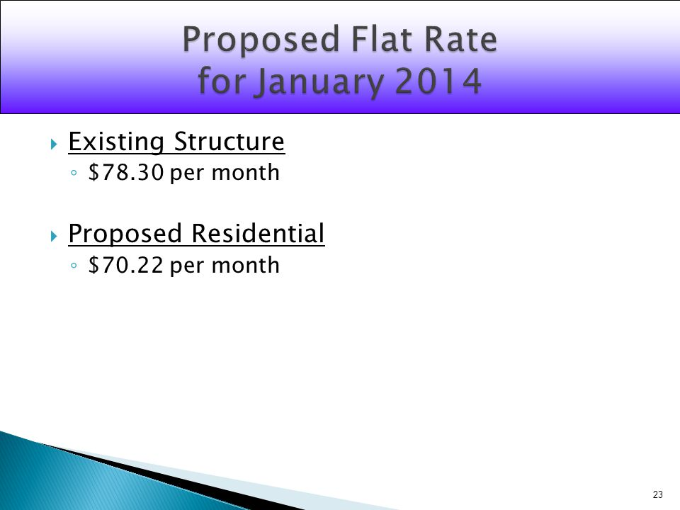 Existing Structure $78.30 per month Proposed Residential $70.22 per month 23