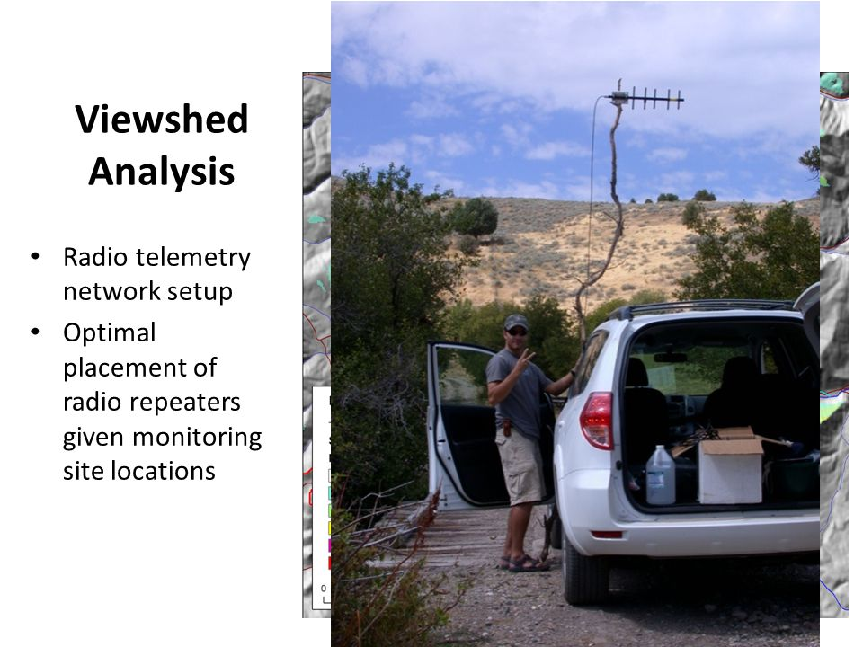 Radio telemetry network setup Optimal placement of radio repeaters given monitoring site locations Viewshed Analysis