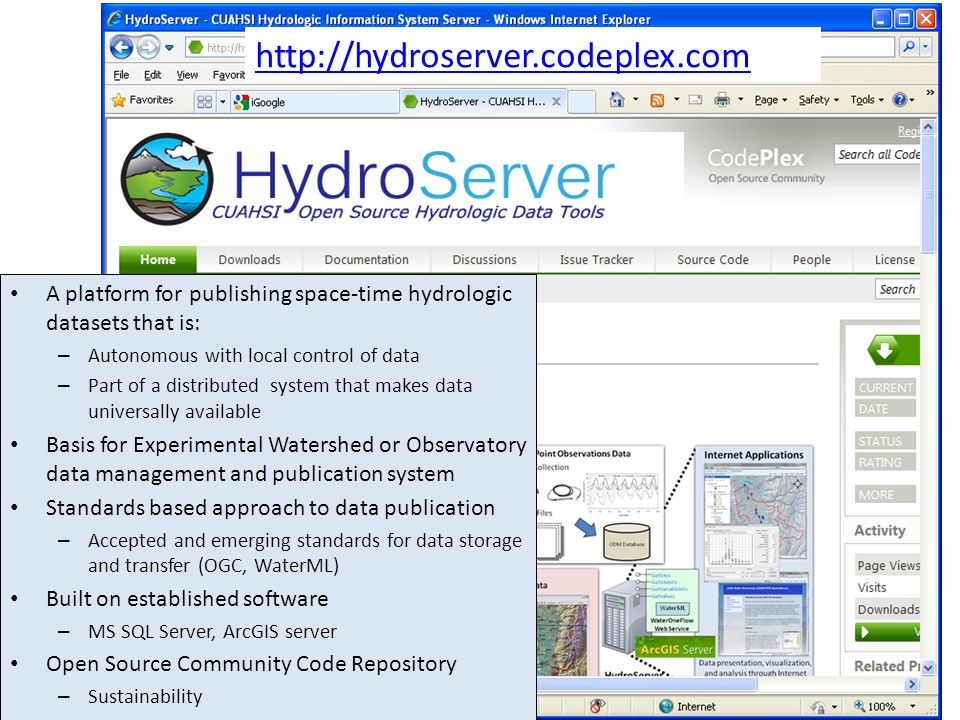 http://hydroserver.codeplex.com A platform for publishing space-time hydrologic datasets that is: – Autonomous with local control of data – Part of a distributed system that makes data universally available Basis for Experimental Watershed or Observatory data management and publication system Standards based approach to data publication – Accepted and emerging standards for data storage and transfer (OGC, WaterML) Built on established software – MS SQL Server, ArcGIS server Open Source Community Code Repository – Sustainability