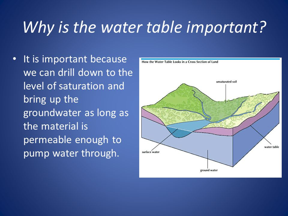 Why is the water table important.