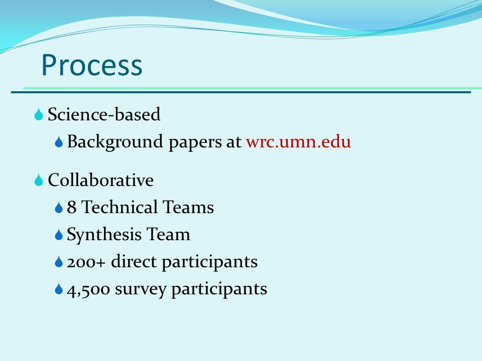Process Science-based Background papers at wrc.umn.edu Collaborative 8 Technical Teams Synthesis Team 200+ direct participants 4,500 survey participants