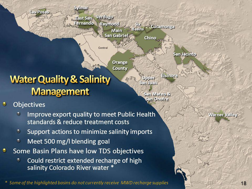 Objectives Improve export quality to meet Public Health standards & reduce treatment costs Support actions to minimize salinity imports Meet 500 mg/l blending goal Some Basin Plans have low TDS objectives Could restrict extended recharge of high salinity Colorado River water * OrangeCounty Main San Gabriel Raymond Chino San Jacinto 18 Las Posas Cucamonga Warner Valley Elsinore Upper San Juan San Mateo & San Onofre Six Basins SylmarSylmar VerdugoVerdugo East San Fernando Fernando *Some of the highlighted basins do not currently receive MWD recharge supplies