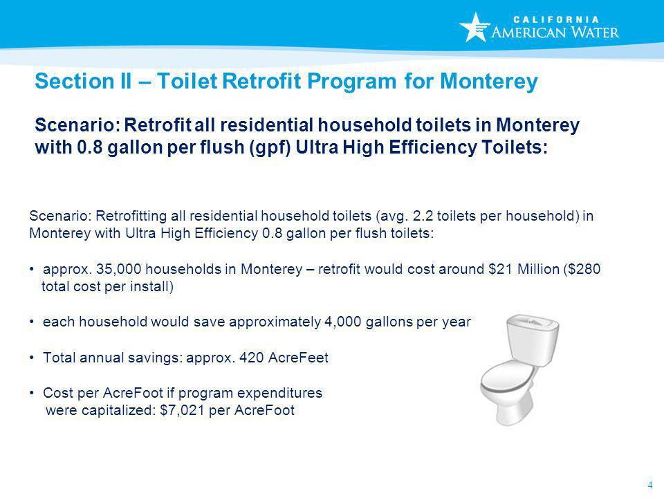 4 Section II – Toilet Retrofit Program for Monterey Scenario: Retrofit all residential household toilets in Monterey with 0.8 gallon per flush (gpf) U