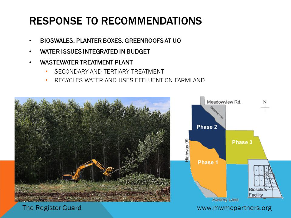RESPONSE TO RECOMMENDATIONS BIOSWALES, PLANTER BOXES, GREENROOFS AT UO WATER ISSUES INTEGRATED IN BUDGET WASTEWATER TREATMENT PLANT SECONDARY AND TERTIARY TREATMENT RECYCLES WATER AND USES EFFLUENT ON FARMLAND The Register Guardwww.mwmcpartners.org