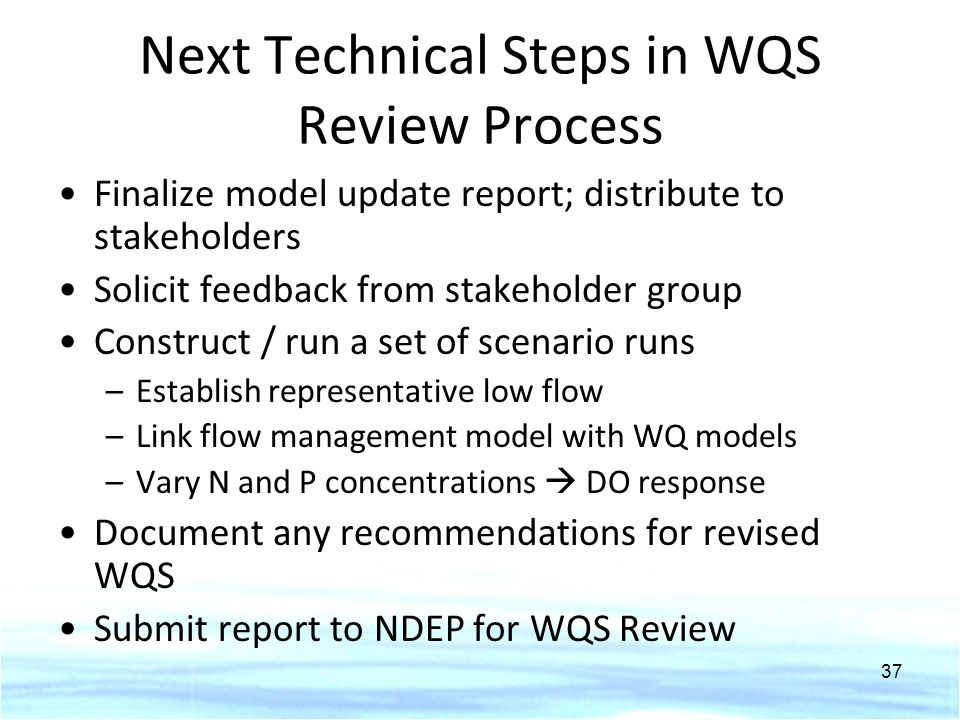 Next Technical Steps in WQS Review Process Finalize model update report; distribute to stakeholders Solicit feedback from stakeholder group Construct