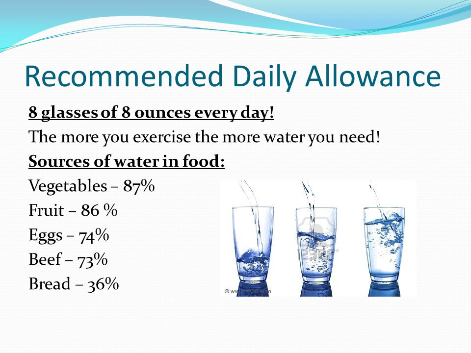 Water Loss Adults lose nearly 12 cups of water per day ½ - 1 cup from the soles of our feet 2-4 cups from breathing 2 cups from perspiration 6 cups from urine