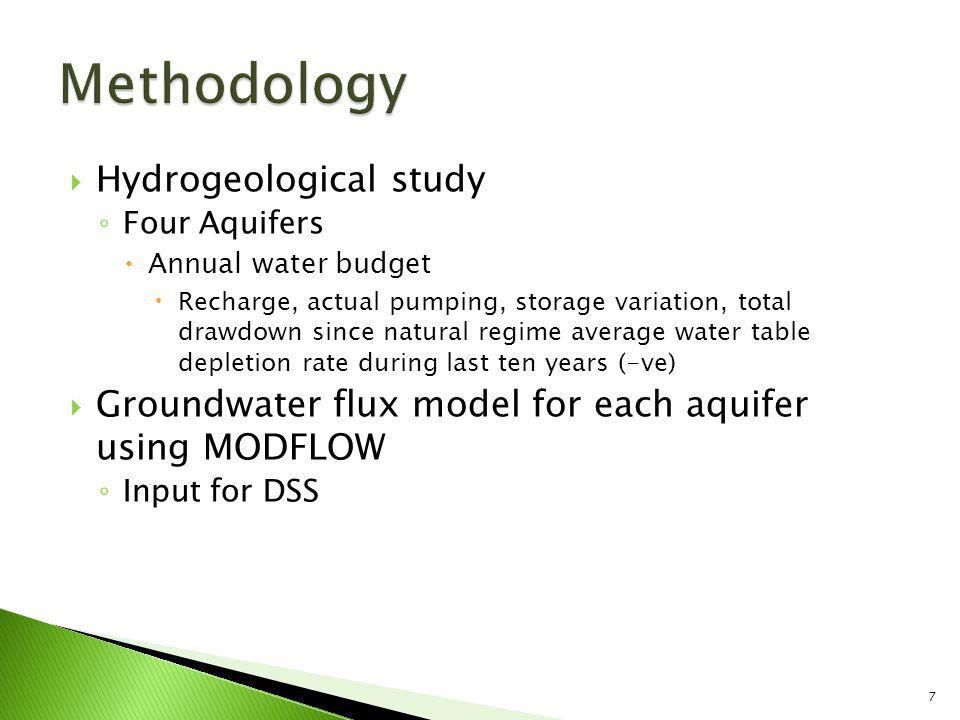 Socio-economic study Uses and demand for water Repercussions on local society and economy Available data Model of 22 crops developed to assess relationship between agro-economy and groundwater availability Extraction costs Stakeholder involvement Interviews, surveys, questionnaires and general meetings Develop DSS 8