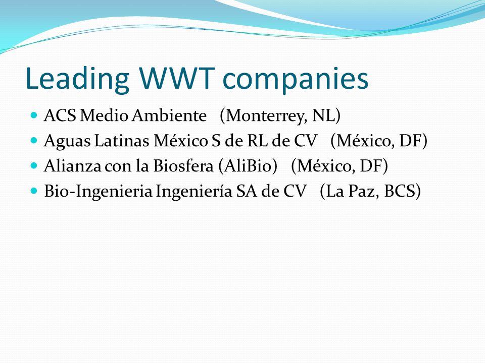 Leading WWT companies ACS Medio Ambiente (Monterrey, NL) Aguas Latinas México S de RL de CV (México, DF) Alianza con la Biosfera (AliBio) (México, DF) Bio-Ingenieria Ingeniería SA de CV (La Paz, BCS)