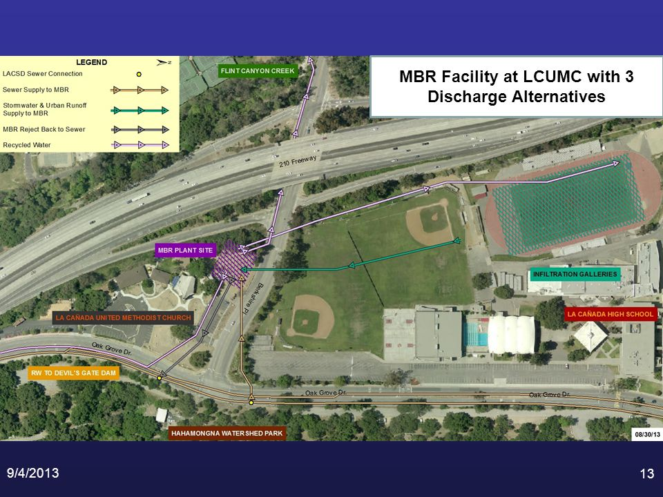 9/4/2013 13 MBR Facility at LCUMC with 3 Discharge Alternatives