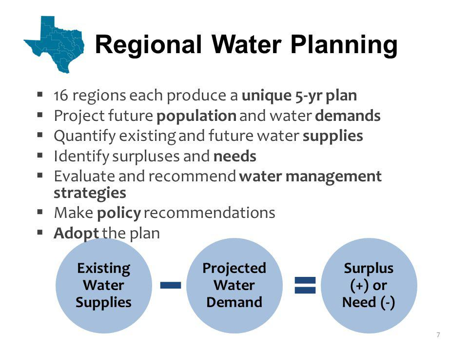 Existing Water Supplies Projected Water Demand Surplus (+) or Need (-) 16 regions each produce a unique 5-yr plan Project future population and water demands Quantify existing and future water supplies Identify surpluses and needs Evaluate and recommend water management strategies Make policy recommendations Adopt the plan Regional Water Planning 7