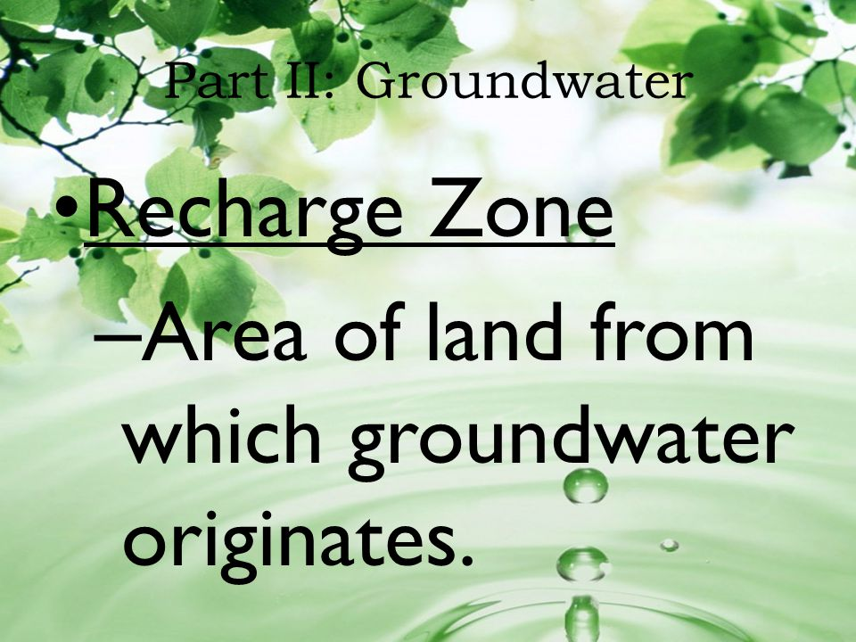 Part II: Groundwater Recharge Zone – Area of land from which groundwater originates.