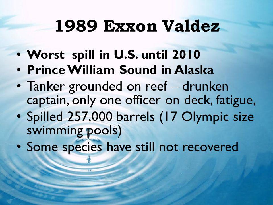 1989 Exxon Valdez Worst spill in U.S. until 2010 Prince William Sound in Alaska Tanker grounded on reef – drunken captain, only one officer on deck, f