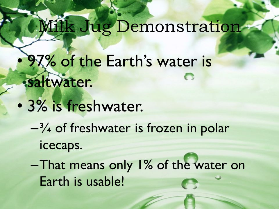Milk Jug Demonstration 97% of the Earths water is saltwater. 3% is freshwater. – ¾ of freshwater is frozen in polar icecaps. – That means only 1% of t