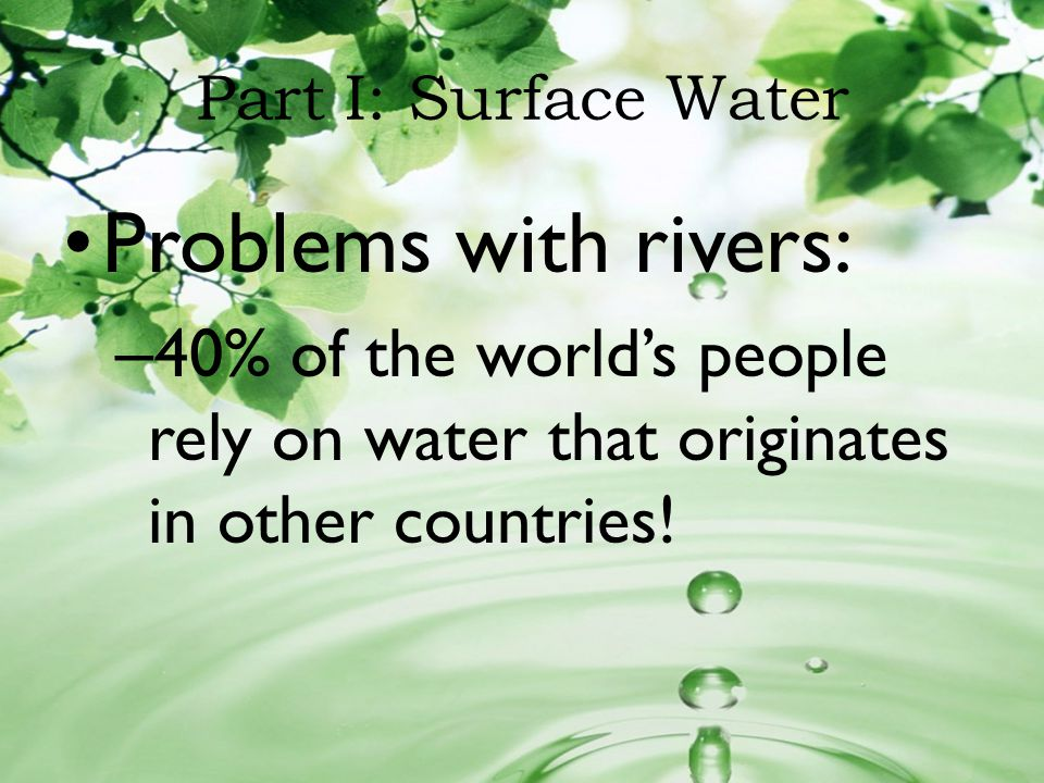 Eutrofication Too many nutrients in water from decomposing animals, sewage and fertilizer runoff.
