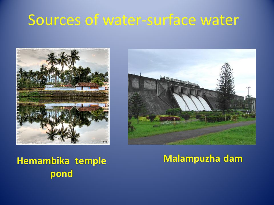 Sources of water-surface water Hemambika temple pond Malampuzha dam