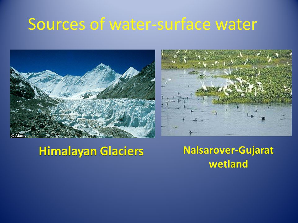 Sources of water-surface water Himalayan Glaciers Nalsarover-Gujarat wetland