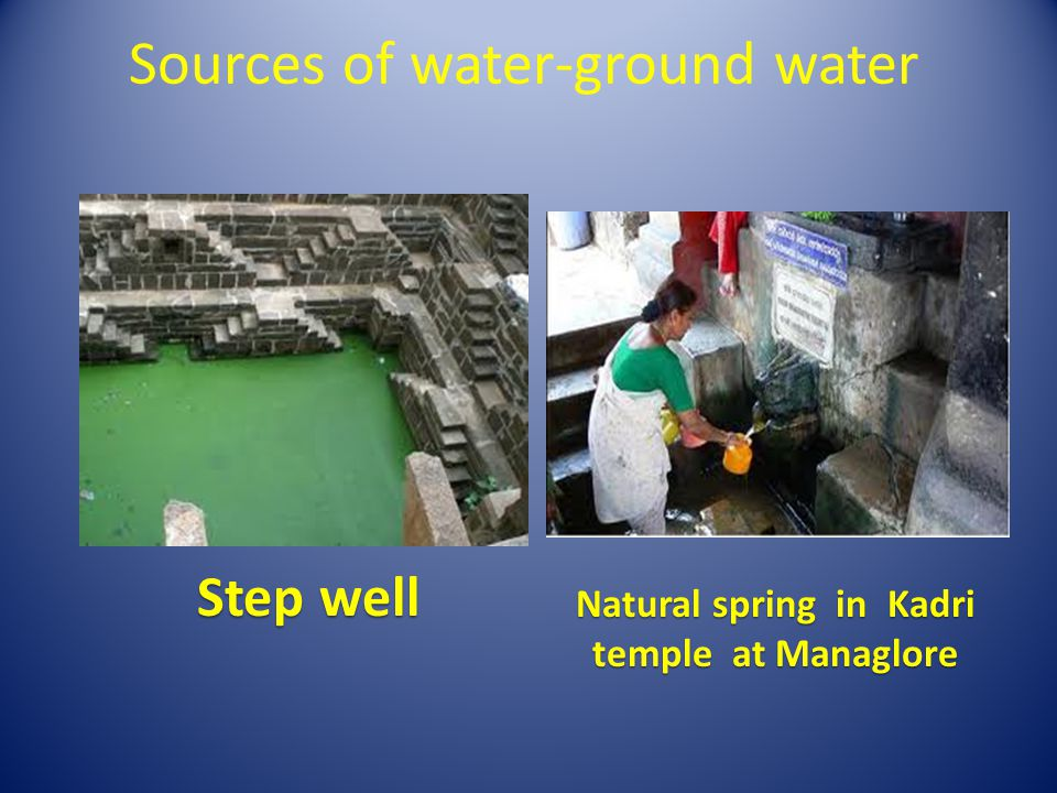 Sources of water-ground water Bore well Open well