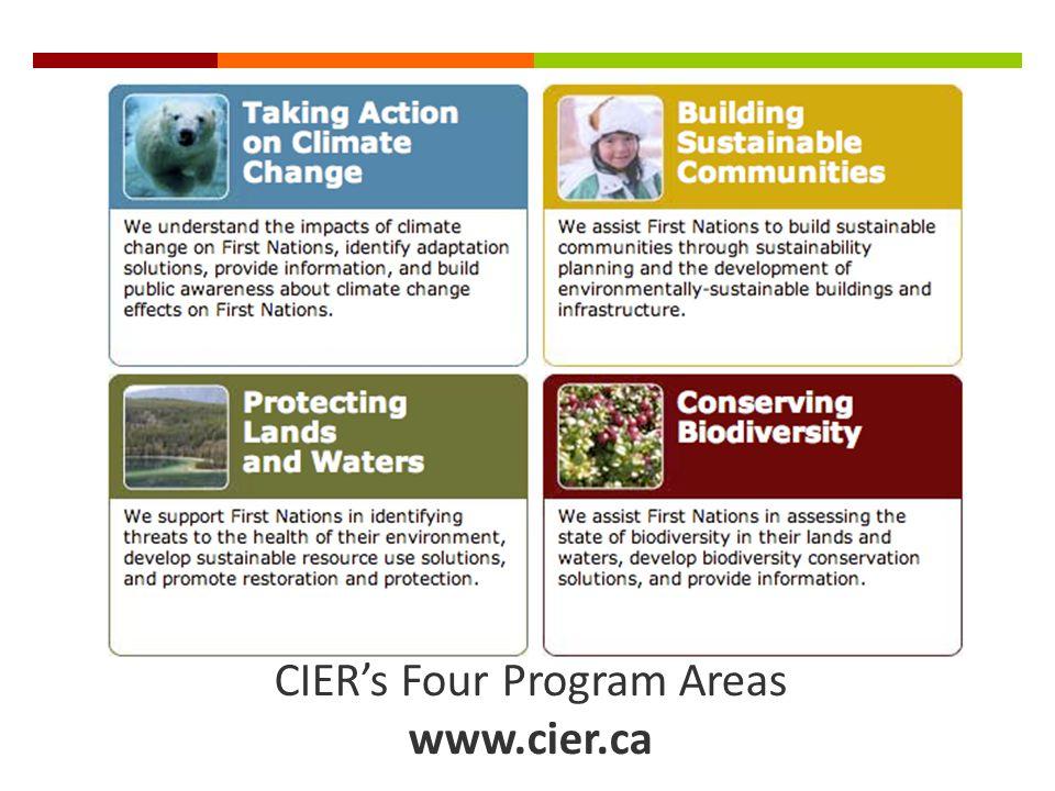CIERs Four Program Areas www.cier.ca