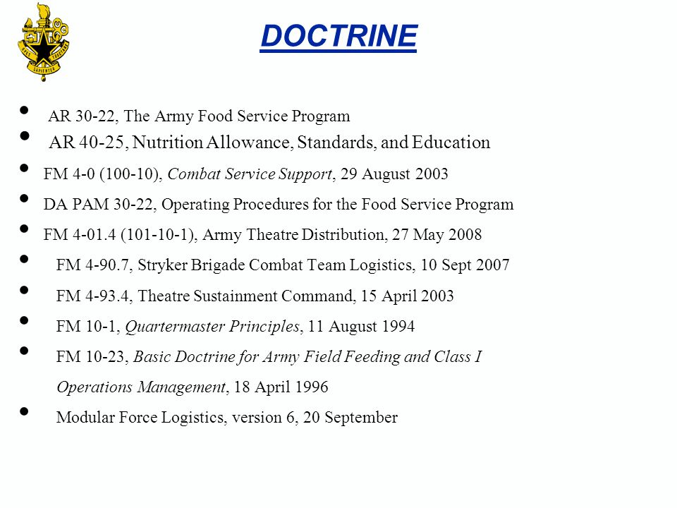 AR 30-22, The Army Food Service Program AR 40-25, Nutrition Allowance, Standards, and Education FM 4-0 (100-10), Combat Service Support, 29 August 200