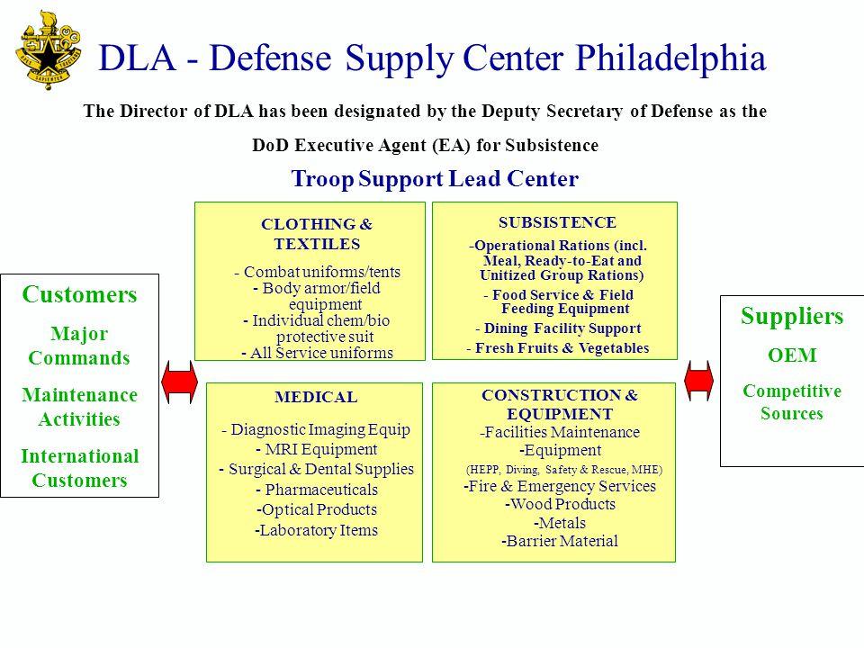 DLA - Defense Supply Center Philadelphia CLOTHING & TEXTILES - Combat uniforms/tents - Body armor/field equipment - Individual chem/bio protective sui