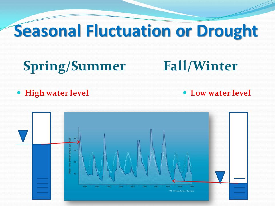 Seasonal Fluctuation or Drought Spring/Summer Fall/Winter High water level Low water level