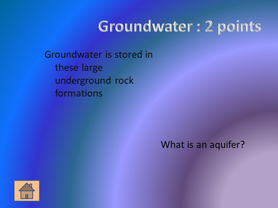 Groundwater is stored in these large underground rock formations What is an aquifer