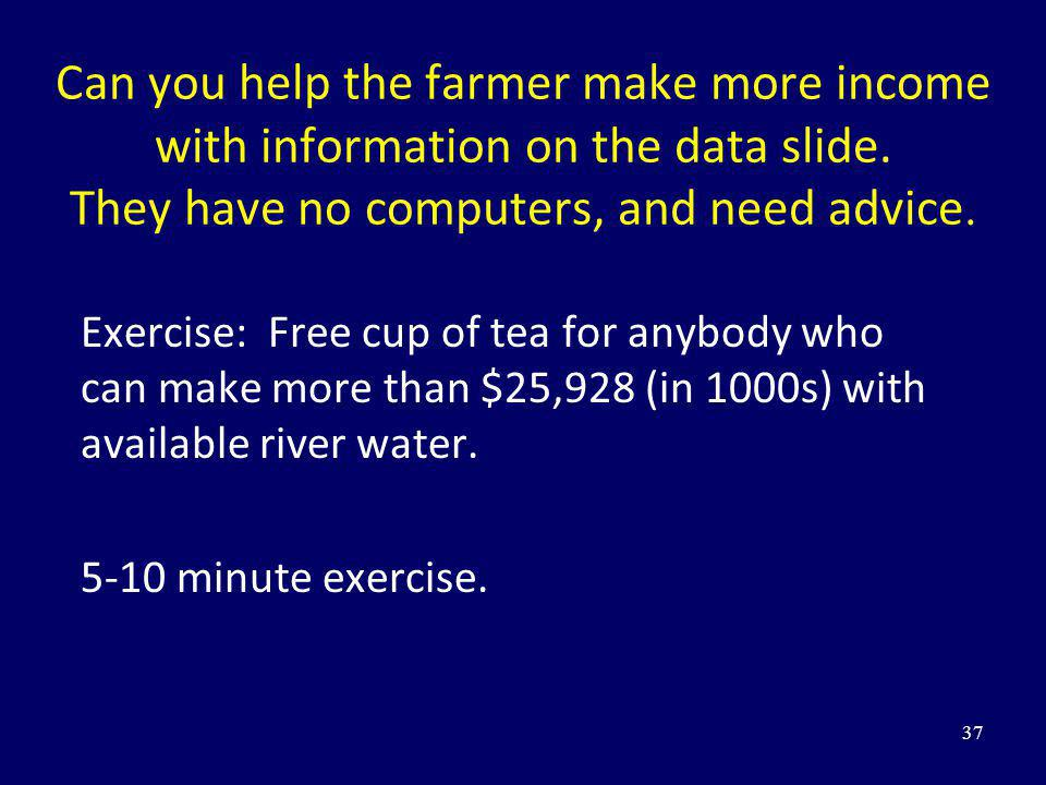 Can you help the farmer make more income with information on the data slide. They have no computers, and need advice. Exercise: Free cup of tea for an