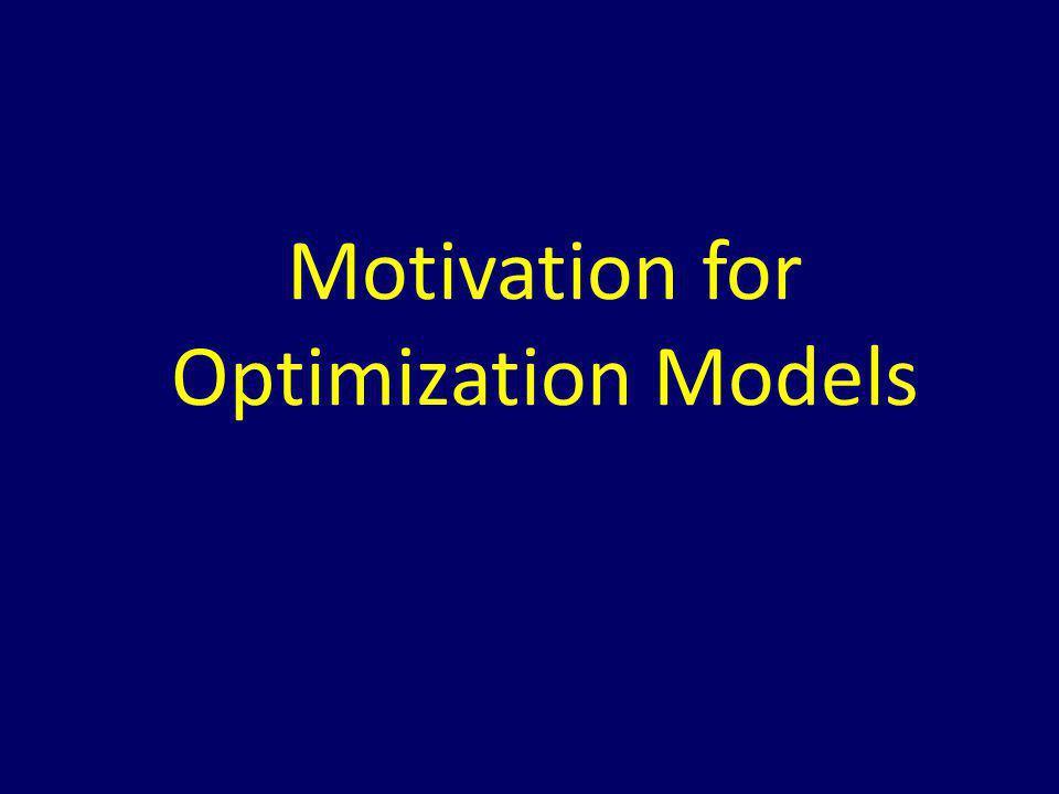 Motivation for Optimization Models