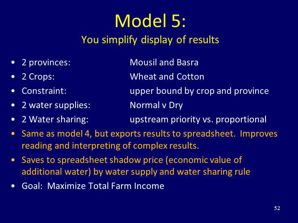 Model 5: You simplify display of results 2 provinces: Mousil and Basra 2 Crops: Wheat and Cotton Constraint: upper bound by crop and province 2 water