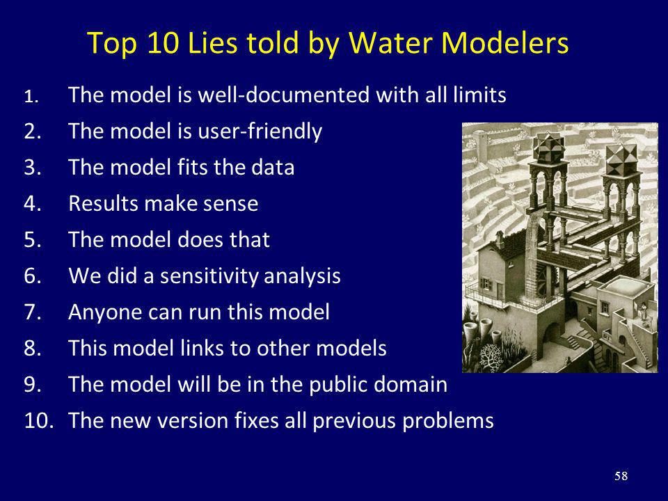 58 Top 10 Lies told by Water Modelers 1. The model is well-documented with all limits 2.The model is user-friendly 3.The model fits the data 4.Results