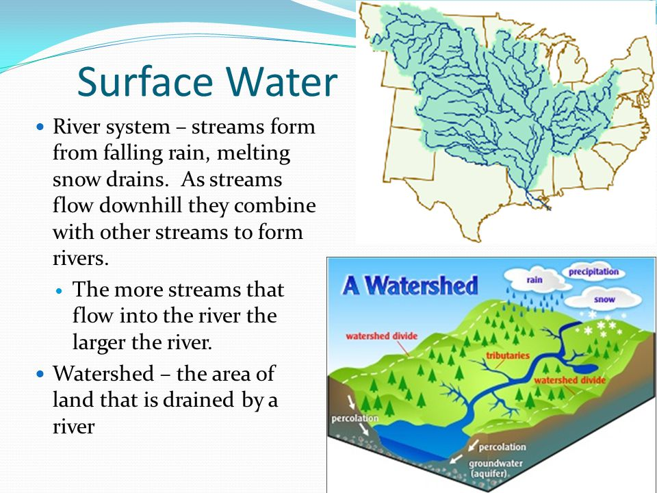 Surface Water River system – streams form from falling rain, melting snow drains. As streams flow downhill they combine with other streams to form riv