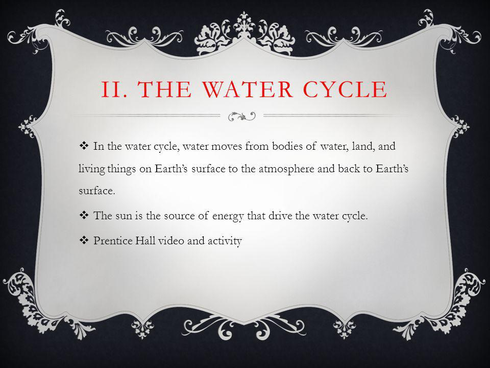 II. THE WATER CYCLE In the water cycle, water moves from bodies of water, land, and living things on Earths surface to the atmosphere and back to Eart