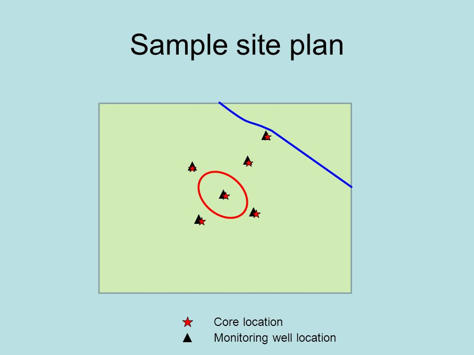 Sample site plan Core location Monitoring well location
