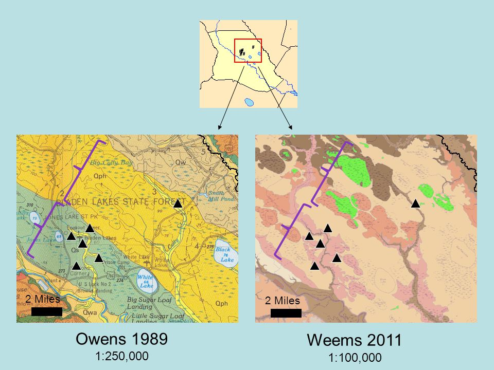 Owens 1989 1:250,000 2 Miles Weems 2011 1:100,000 2 Miles